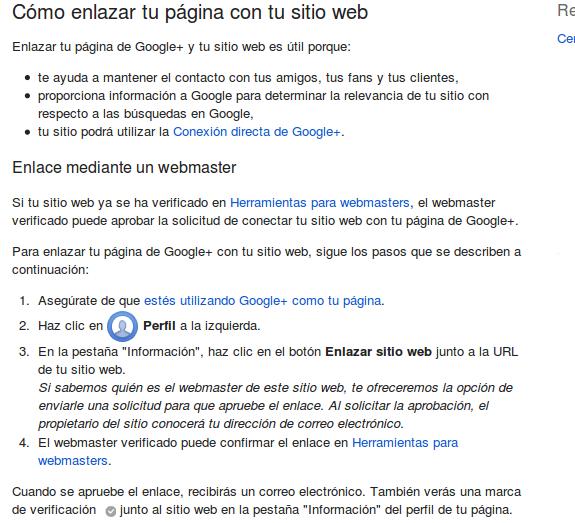 enlazar pagina google+