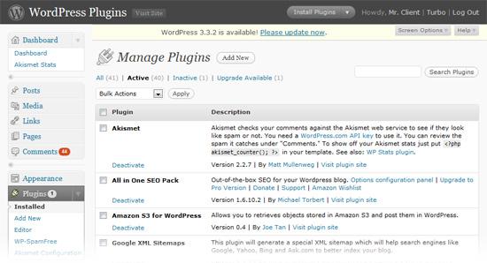 escritorio de plugins