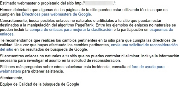 deteccion de enlaces no naturales google