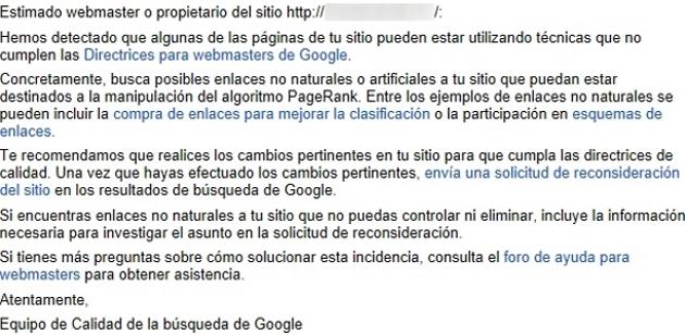 deteccion de enlaces no naturales google