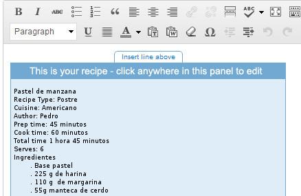 editor articulo receta