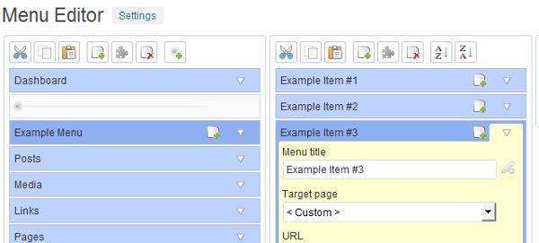 editor admin menu