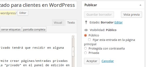 privado wordpress