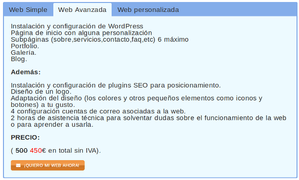 transparencia de precios diseño web