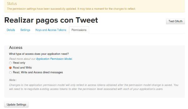 cambiar permisos pagos con un tweet