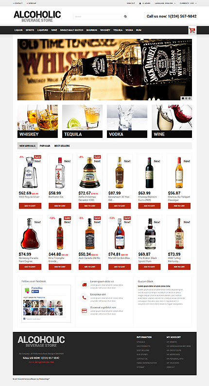 Alcoholic Beverage Store PrestaShop Theme