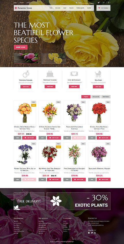 Flowers for Special Occasions PrestaShop Theme