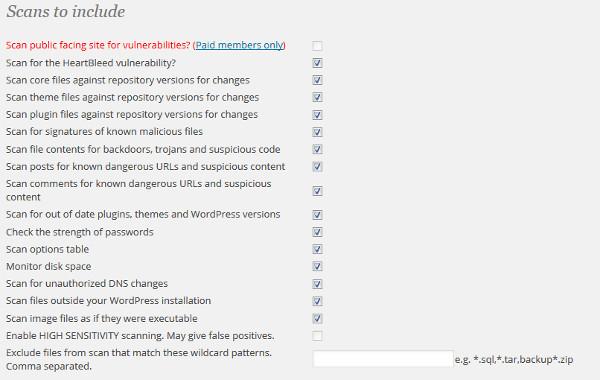 ajustes escaner wordfence plugin