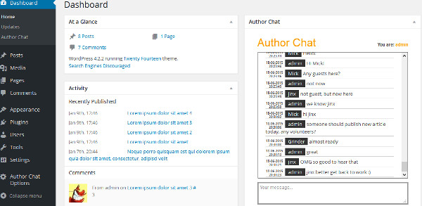 chat plugin autores