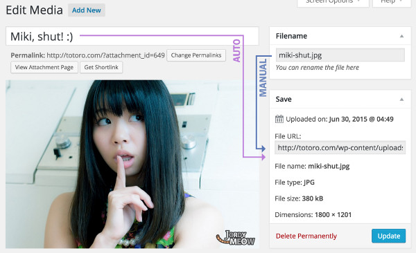 renombrar archivos multimedia wordpress