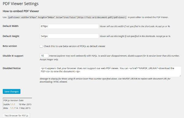 configuracion plugin pdf