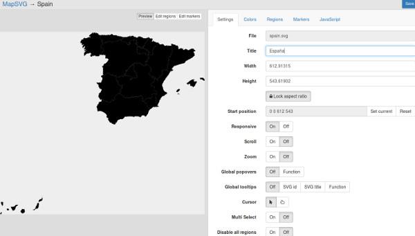 configurando mapa españa