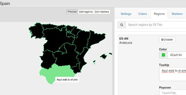 regiones en el mapa