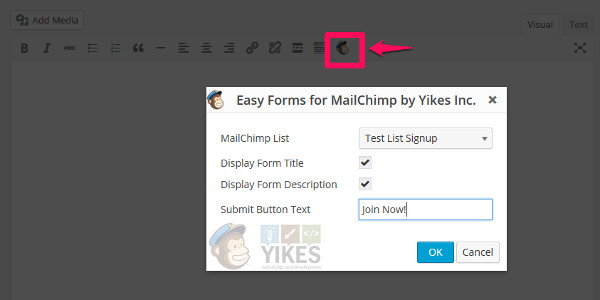 easy form mailchimp