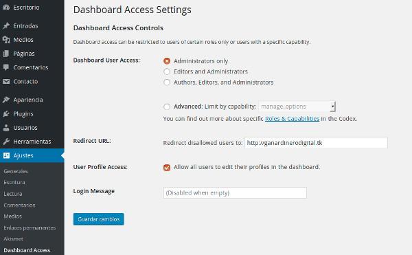 limitar acceso panel plugin