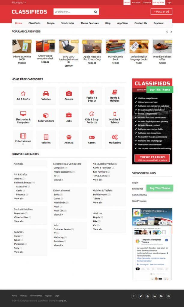 16 Mejores Plantillas WordPress para Web de Clasificados 2018